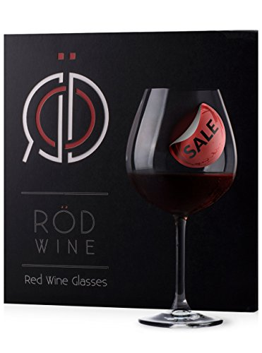 RÖD Wine Unique Gift Glassware Collection Lead Free Crystal Red Wine Glasses (22-Ounce, Set of 3) (Display Cases With Curve Glass compare prices)