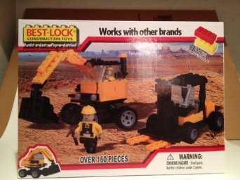 Best-Lock Construction Toys: Construction Site Excavator, Forklift & 2 Mini Figures
