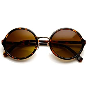Vintage Inspired Classic Round Circle Sunglasses w/ Metal Bridge (Tortoise-Gold/Amber)