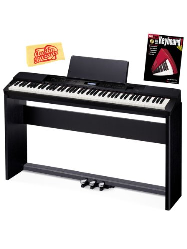 Best Prices! Casio Privia PX-350 88-Key Digital Piano Bundle with Casio CS-67 Furniture-Style Stand, Casio SP-33 3-Pedal System, Hal Leonard Instructional Book, and Austin Bazaar Polishing Cloth – Black