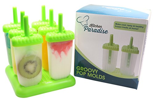Best-Popsicle-Molds-with-FREE-RECIPE-EBOOK-by-The-Kitchen-Paradise-TM-100-BPA-FREE-Dishwasher-Safe-Tupperware-Quality-6-piece-Green-Plastic-Ice-Pop-Mold-Set-with-Stable-Tray-Drip-Guard