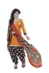 Subhash Sarees Orange Colored Glas Cotton Plain Dress Material