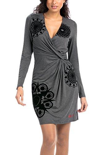 Desigual - VEST_CELIA, Vestito da donna, multicolore (mehrfarbig  (gris vigore oscuro 2043)), 42 IT (M) (12 UK)