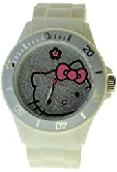 Hello Kitty Women's H3WL1040WT White Plastic Case Rubber Strap Pave Face and Flower at 12 Watch