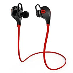 Aukey Sport Bluetooth Headphone, Bluetooth 4.1 Wireless best Stereo Sport Headphones Running Gym Exercise Sweatproof Earphones with AptX, Built-in Mic for iPhone, Samsung, Android Smartphones (Red)