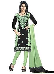 Justkartit Women's Salwar Kameez Dress Material (JK3779_Green & Black)