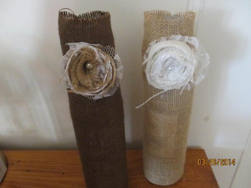 Beige Or Brown Burlap Rustic Shabby Chic Wine Bottle Covers,Burlap Wine Bottle Covers,Shabby Chic Rosettes