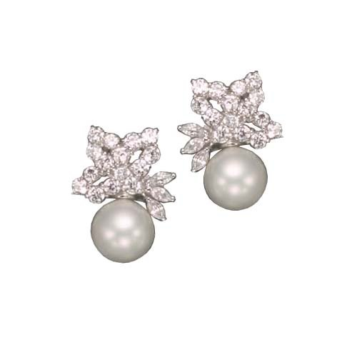 C.Z. AND PEARL RHODIUM PLATED (.925) STERLING SILVER EARRINGS