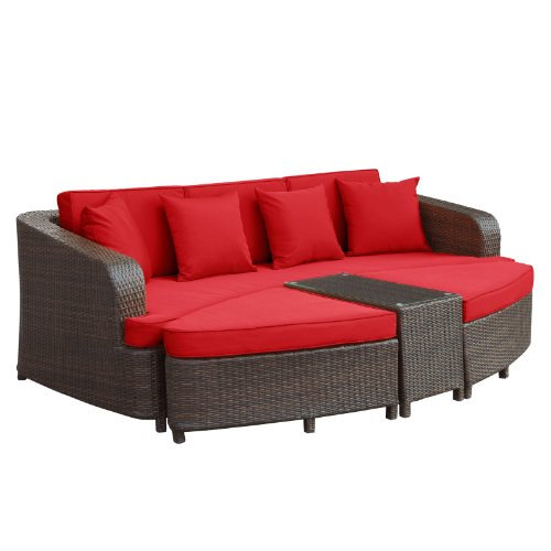 Lexmod monterey outdoor wicker rattan sectional sofa set for Red and brown sectional sofa