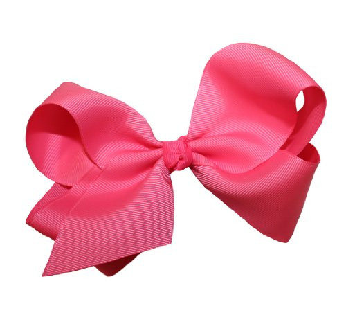 Webb Direct 2U Girls Xl Grosgrain Knot Bow Alligator Clip Neon Pink (1092A) front-815906