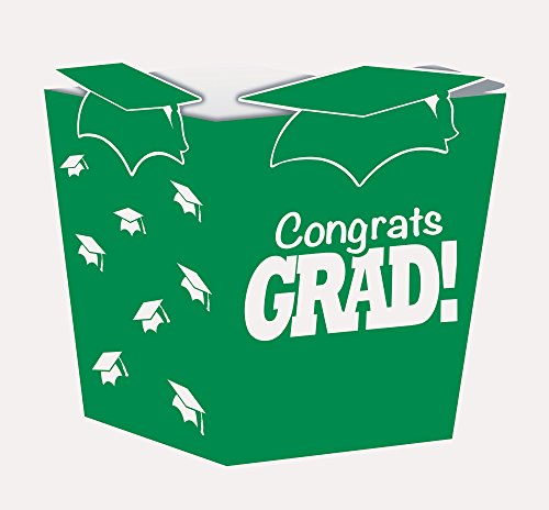 Creative Converting 4 Count Grad Shaped Treat Boxes, Green