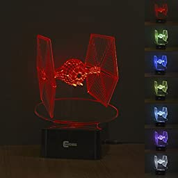 CNHIDEE Star wars 3D color changing night light for bedrooms, living rooms, offices and study rooms. (Tie Fighter)