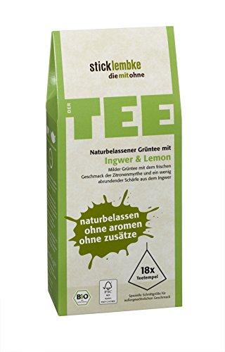 stick & lembke Bio Naturbelassener Grüntee Ingwer und Lemon, 6er Pack (6 x 36 g)