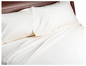500-Thread-Count Cotton Sateen King Sheet Set, Ivory