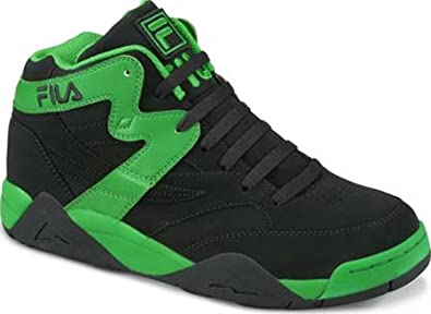 Buy Fila M Squad Basketball Mid-top Shoes, FW00480-088, Black and Green by Fila