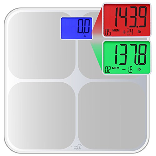Smart Weigh SMS500 Digital Memory Bathroom Scale with Dual Color Weight Change Detection and Smart Step-On Auto Recognition of Up To 8 Users Profile, Silver (Change Profile On compare prices)