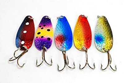 Akuna 5flc68 Pack Of 5 24 Holographic Hammered Spoon Fishing Lures from Akuna