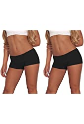 Juniors Comfortable and Active Fitted Foldover Gym Workout Cotton Short Shorts