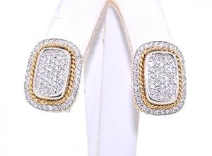 14KTT Gold Diamond Earrings With Omega Backs