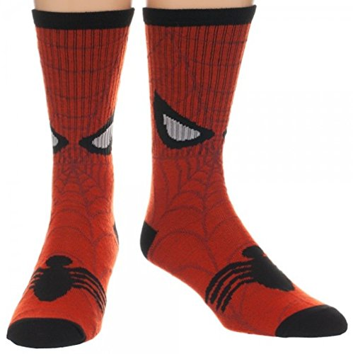 Marvel Comics Spider-Man Web Face Design Costume Crew Socks
