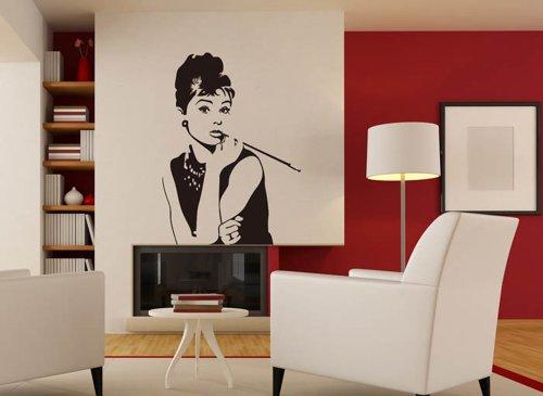 grandora w852 wandtattoo stars audrey hepburn wohnzimmer. Black Bedroom Furniture Sets. Home Design Ideas