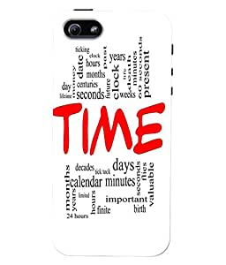 Fuson 3D Printed Time Wallpaper Designer Back Case Cover for Apple iPhone 5 - D853