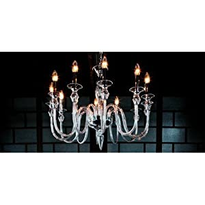2599 Chandelier in Chrome / Gold Size / Number of Bulbs: 55 cm H x 70 cm Dia / (10) 40 / 60W E14, Finish: Gold, Shade / Dropper Colour: Clear Glass *Special Offers