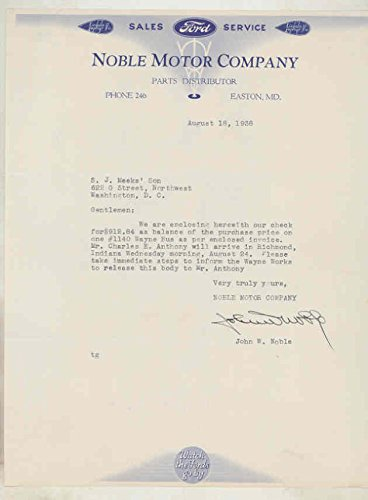 1938 Ford Noble Motor Company Easton Maryland Dealer Letter (Easton Motors compare prices)