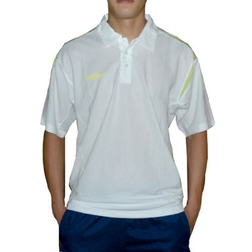 Mens Umbro Dri-Fit Mesh Athletic Polo Jersey / Racing Shirt - White - Size: S