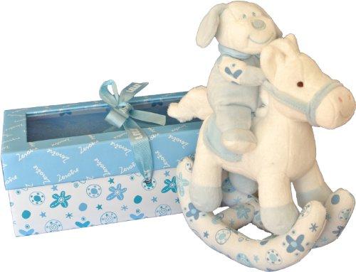 Kuschel-Schaukelpferd, Blau/Rosa/Bunt, in Geschenkebox