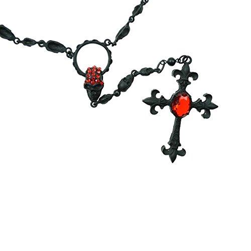 Poizen Industries-Gothic collana croce e teschio-Monarch Necklace Nero