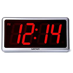 Ivation Big Time Digital LED Clock - Table or Wall Clock - Dimmable LED Display - Great for Elderly People, Offices, Conference Rooms, Lobbies and School Classrooms - Huge 12 Inch - Red