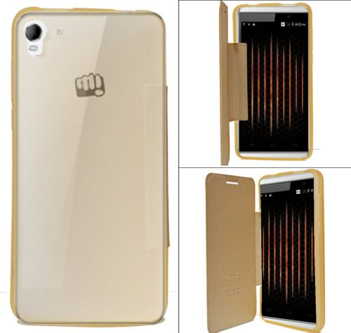 Micromax Canvas Fire 2 A104 Premium Flip Cover Diary Folio Flap Case Cover - Gold  available at amazon for Rs.179
