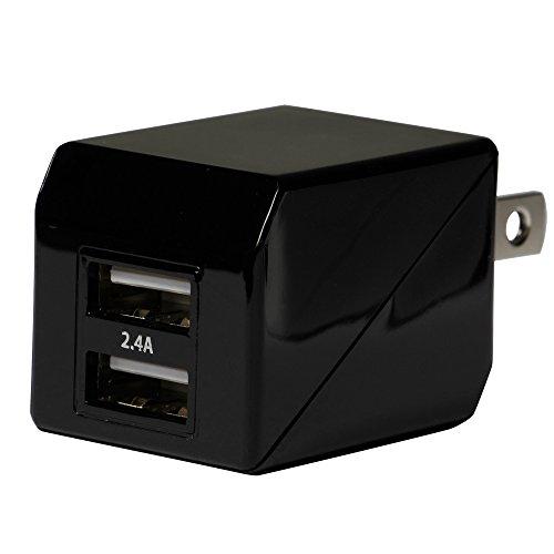 オウルテック 2年保証 ストロングAC充電器 2ポート 合計出力2.4A iPhone6s/6sPlus/6/6Plus/5s/iPad air2/mini4/Galaxy/Xperia等スマートフォン タブレットPC対応 ブラック OWL-ACU2F24-BK