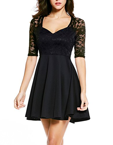NuoReel Women's Lace Bodice Skater Dress (Small, Black Halfsleeve)