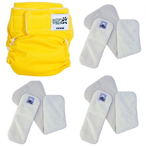 SoftBums ECHO One Size Cloth Diaper Set with 3 SUPER Dry Touch Pods (Solar Flare)