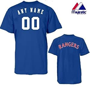 Texas Rangers Personalized Custom (Add Name & Number) 100% Cotton T-Shirt Replica... by Authentic Sports Shop