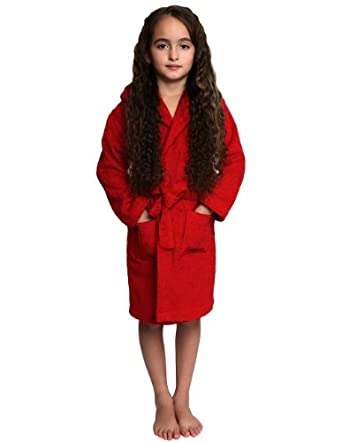 TowelSelections Turkish Cotton Kids Hooded Terry Bathrobe Made in Turkey Red Small
