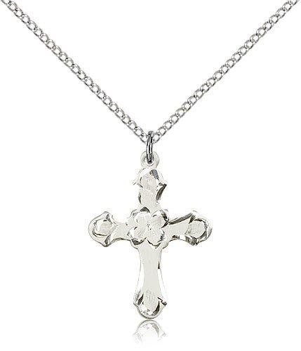 .925 Sterling Silver Cross Medal Pendant 7/8 x 5/8