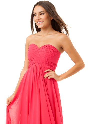 Fiesta Formals Long Flowing Chiffon Formal Evening Gown Bridesmaids Prom Dress - Fucshia - L