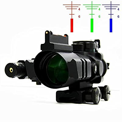 IORMAN Original 4x32 Tactical CQB Optics Scope Sight Red/Green/Blue Tri Illuminated Holographic Reflex Sight with Red Dot Laser Sight for Quick Aiming/Shooting by IORMAN