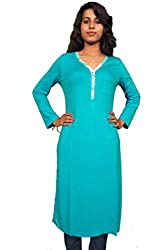 Miraaya Women's Cotton Hosiery Kurti (M2432E_78265_Turquoise_X-Small)