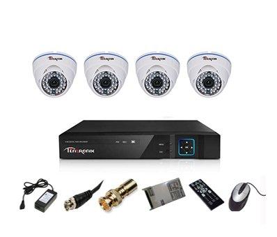Tentronix T-4ACH-4-DA13 4-Channel AHD Dvr, 4(1.3MP) Dome Cameras (With Accessories)