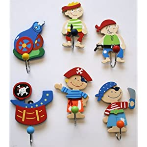 Set of 6 Wooden Coat Hooks - Pirate Designs