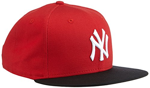 New Era Snap Back Cappellino New Era MLB Cotton Block New York Yankees Scarlet con chiusura posteriore regolabile-Nero/Rosso