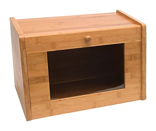 Lipper International 8847 Bamboo Bread Box with Tempered Glass Window, Tan