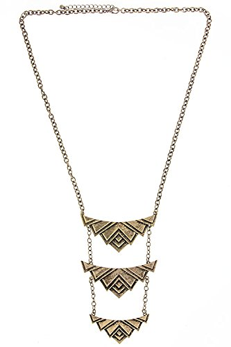 Karmas Canvas Triple Geometric Pendants Necklace (Antique Gold) front-1053233