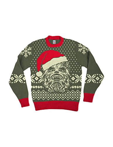0130c77c Star Wars Chewbacca Big Face With Santa Hat Brown Ugly Christmas Sweater  (Adult Small)