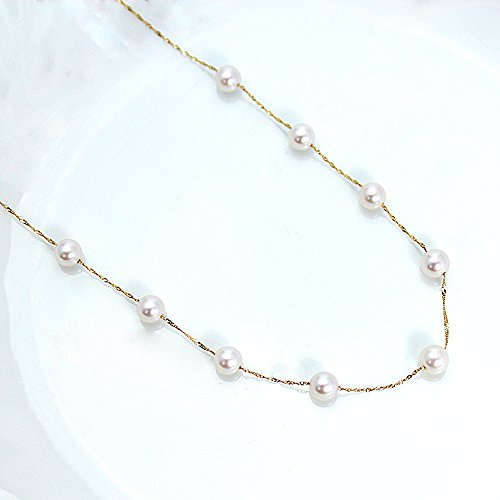 Ejewelry 18金イエローゴールド 5.0-5.5mm珠 あこや本真珠 ステーションネックレス ペンダント 42cm(アジャカン3cm含む) k18 パール 誕生石