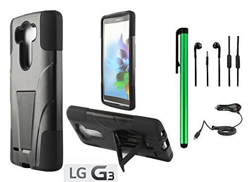 Lg G3 Premium T-Stand / Side-Stand Hybrid Holster Design Protector Hard Cover Case (For 2014 Lg New Flagship Android Phone) + Car Charger + 3.5Mm Stereo Earphones + 1 Of New Assorted Color Metal Stylus Touch Screen Pen (Black / Black) front-962598